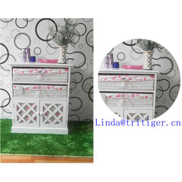 white solid wood storage cabinet with wicker drawers willow basket door