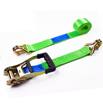 "2"" 5T 50mm Rubber Handle Ratchet Buckle Tiedowns Green Straps With 2 Inch Double J Hooks Safety Latch"