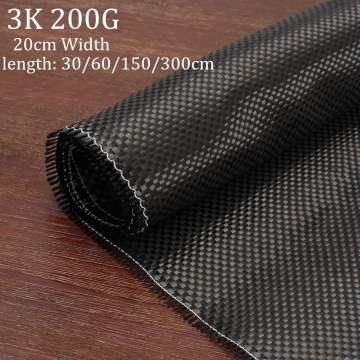 3K 200gsm Carbon Fiber Cloth Plain Carbon Fabric for Commercial Car Part Sport Equipment 20cmx 30/60/150cm 3 Size