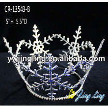 Full Round Rhinestone Blue Snowflake Christmas Crown