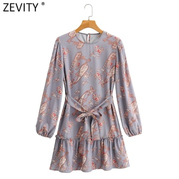 Zevity New Women Vintage Cashew Nuts Print Hem Pleat Ruffles Mini Dress Ladies Long Sleeve Casual Sashes Straight Vestido DS4647