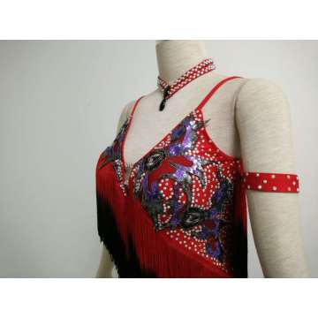 Red latin ballroom skirts