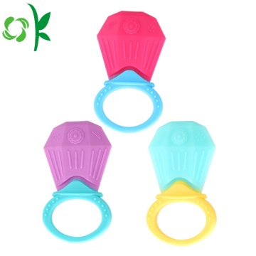 Cute Cartoon Diamond Silicone Teether Rings for Baby/Infant