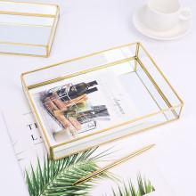 40# Nordic Retro Storage Tray Gold Rectangle Glass Makeup Organizer Tray Dessert Plate Jewelry Display Home Kitchen Decor