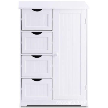 Simple design Bathroom Floor Cabinet Wooden with 1 Door & 4 Drawer