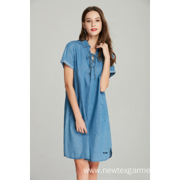 tencel denim lace up with eyelets ladies dress