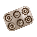 Three Flowers Shaped 6 Cups Donut Baking Pan