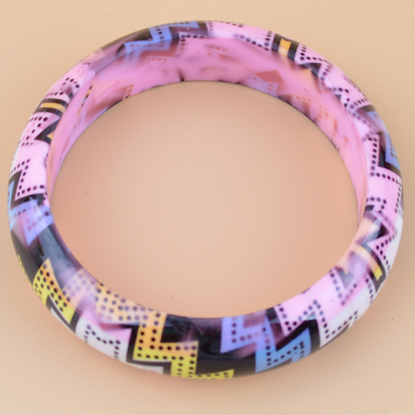 Wholesale Colorful Flower Printed Plastic Bangles
