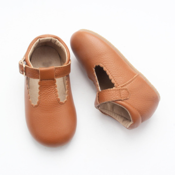 Hard Sole Leather Infant Baby Girl Dress Shoes