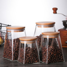 Kitchen Storage Glass Jars Coffee Jar Tea Sugar Bottle Cereals Sealed Tank Household Square With Wooden Lid Containers For Food