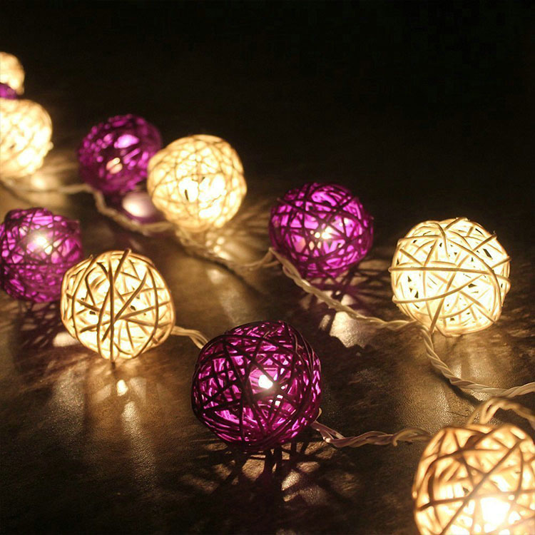 party favor rattan ball indoor led string light
