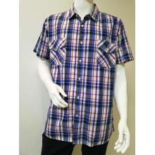 Men's Yarn Dye Short Sleeve Casual Shirt