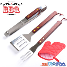 nylon apron bag wooden handle bbq tool set
