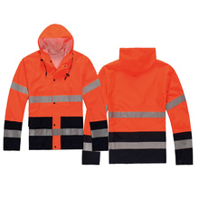 Hi-vis rain coat with reflective tape