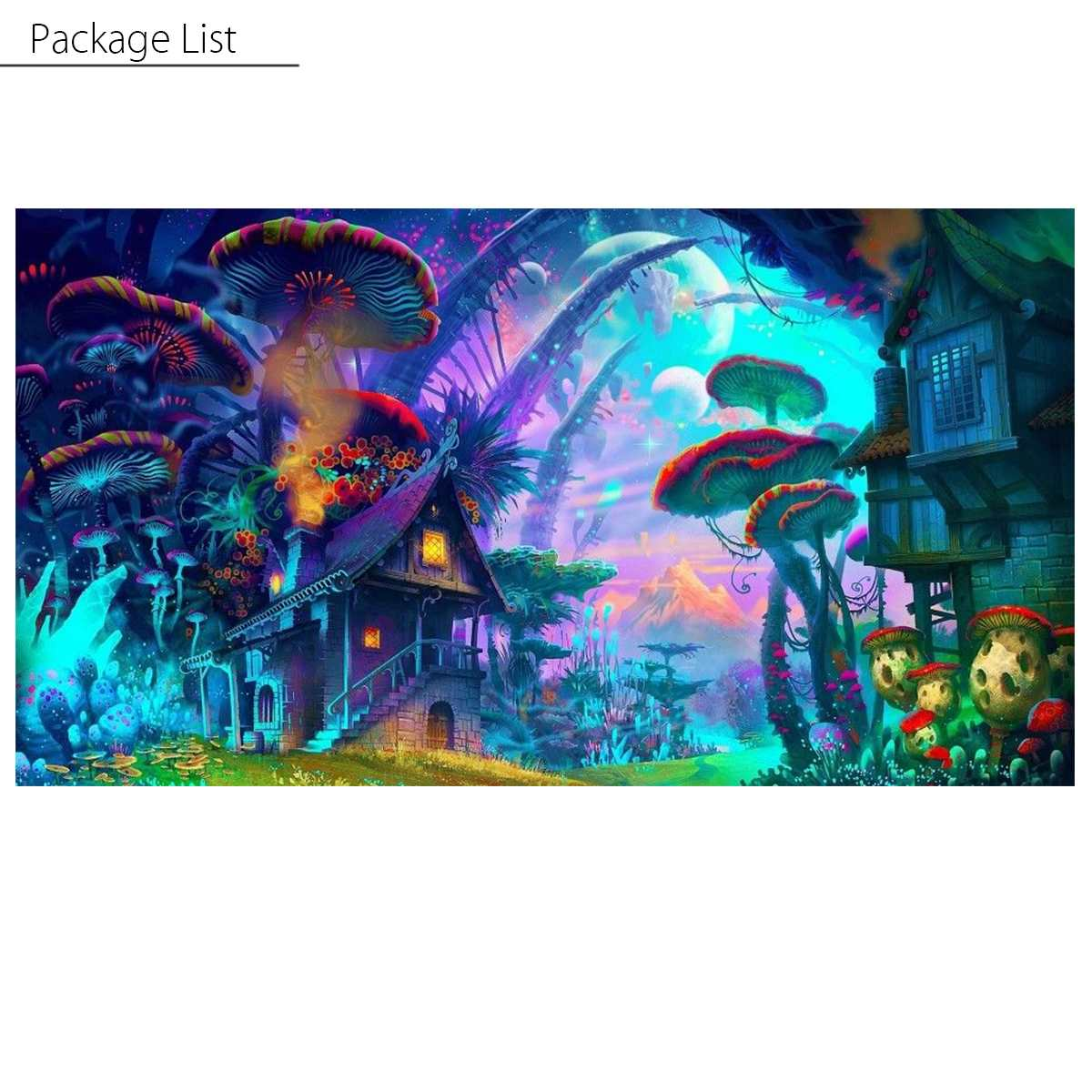 90x60cm Psychedelic Mushroom Town Poster Wall Art Pictures Painting Living Room Bedroom Wall Home Decrorations