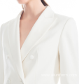 lady office wears fashion white double breast two piece suit