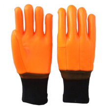 Orange PVC winter gloves knitted wrist