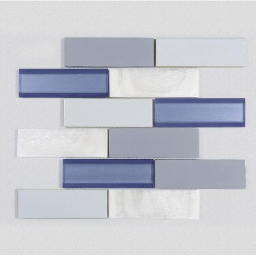 Oblong Shape Blue And White Art Mosaic
