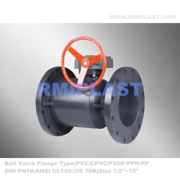 FRPP Flanged Ball Valve Gear Operate