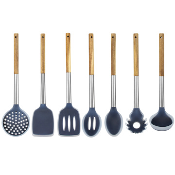 Acacia Wood Handle Silicone Complete Kitchen Utensil Set