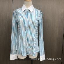 Female yarn dyed stripe spandex long sleeve shirt