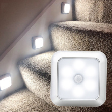 New Battery Powered 6 LED Square Motion Sensor Night Lights PIR Induction Under Cabinet Light Closet Lamp for Stairs Kitchen