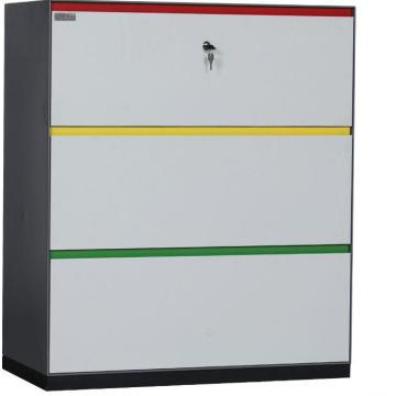 Thin edge colorful handle lateral filing cabinet