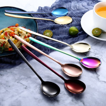 Korean Style 304 Stainless Steel Stirring Spoons Forks Dinnerware Set Colorful Cutlery Creative Ice Spoon Kitchen Accessories