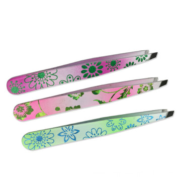 Stainless steel eyebrow clip Oblique mouth tweezers eyebrow clip False eyelash eyebrow pull Threading tweezers