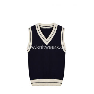 Boy's Knitted Contrast Edge V-Neck School Vest