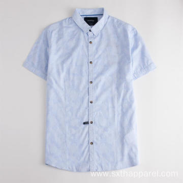 Anti-static Men's Print Short Sleeve Cotton Shirt