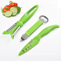 stainless steel peeler bottle opener and knife set