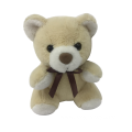 Beige Bear Plush Toy With Ribbon