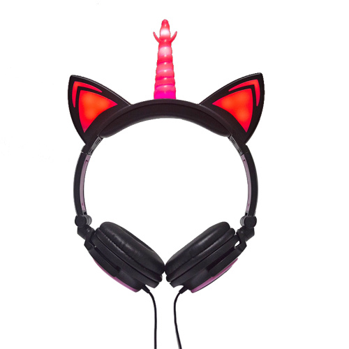 LIMSON Stereo Unicorn Headphones,Wired Light Up Headset Cute Adjustable Earphones with Flashing LED for Adults Kids Birthday Xma