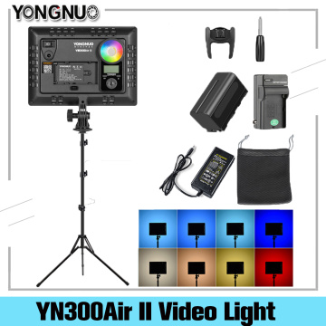 YONGNUO YN300AIR II RGB Adjustable LED Camera Video Light Optional Battery With Charger Kit Photography Light + AC adapter+Stand