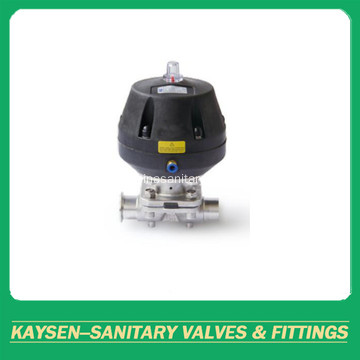 Hygienic pneumatic diaphragm valve weld and clamp end