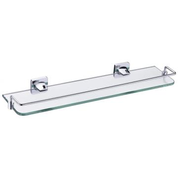 Light simple glass shelf chrome with rail bathroom