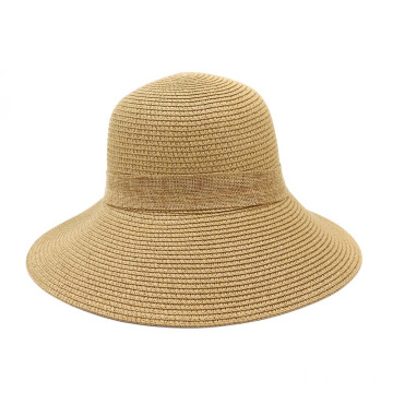 Adjustable large bowknot summer bucket straw hat