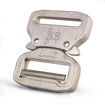 38mm Heavy Duty 300KG Steel Nickel plating white Adjustable Belt Buckle Cobra Buckle