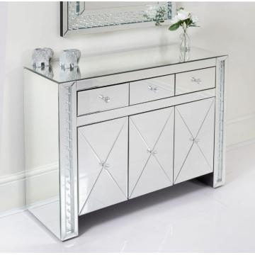 mirrored accent cabinet with drawers