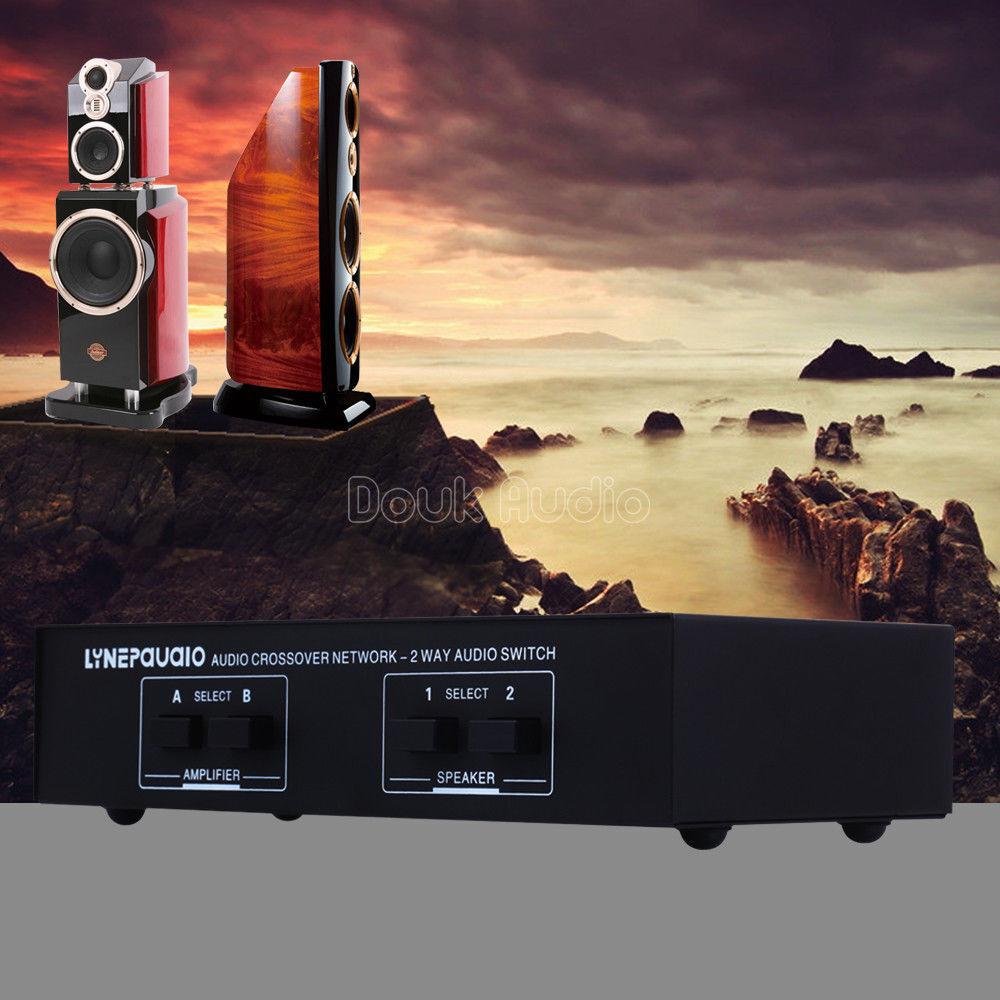 Douk Audio 2-way Passive Stereo Speaker Selector Audio Amplifier Switcher Box Comparator