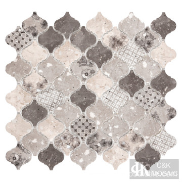 Arabesque Flower Pattern Mosaic Tiles