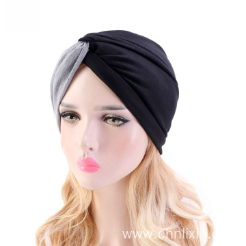 fashionable two color splicing turban bandanas hat