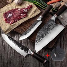High Carbon Steel Chef Knife Boning Slicing Butcher Kitchen Knives Meat Cleaver Kitchen Slaughtering Knife with Knife Sharpener