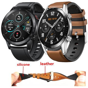 Leather + Silicone Bracelet Band For Huawei Honor Magic Watch 2 46mm Watch Strap For Huawei Watch GT 2 Honor Magic 2 Correa