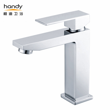 Stylish Square Type Single Cold Chrome basin faucet