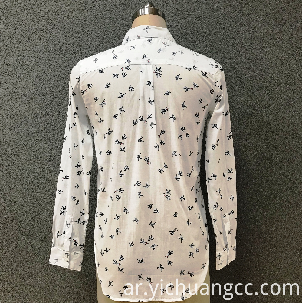 Women's cotton fashion small birds long sleeves shirt