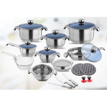 Stainless steel cookware set with transparent glass cover
