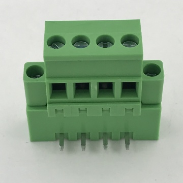 Vertical PCB terminal block with fixed flange