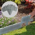 20Pcs Grey / Garden Fence Edging Cobbled Stone Effect DIY Plastic Lawn Edging Plant Border Decorative Garden Landscape #50
